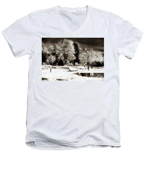 Dark Skies And Winter Park Men's V-Neck T-Shirt