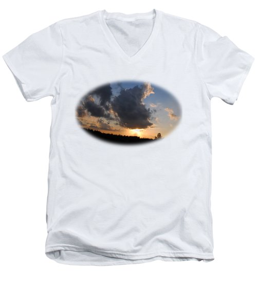 Dark Sunset T-shirt Men's V-Neck T-Shirt by Isam Awad