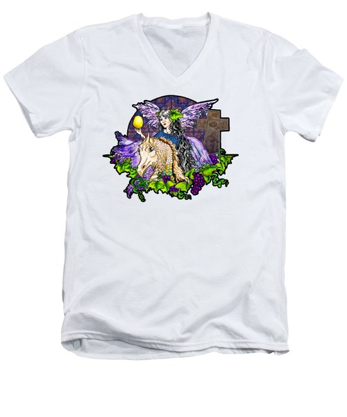 Dark Tales Of Fairy Eve And The Dragons Of Eden Men's V-Neck T-Shirt by Janice Moore
