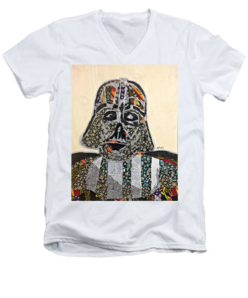 Men's V-Neck T-Shirt featuring the tapestry - textile Darth Vader Star Wars Afrofuturist Collection by Apanaki Temitayo M