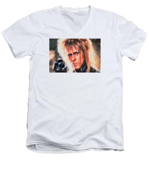 David Bowie  Men's V-Neck T-Shirt by Louis Ferreira