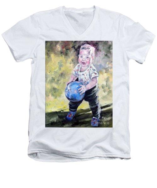 David With His Blue Ball Men's V-Neck T-Shirt