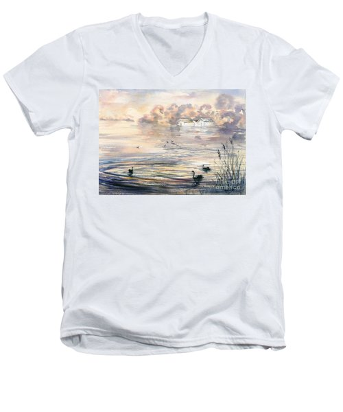Men's V-Neck T-Shirt featuring the painting Dawn At Lake Wendouree by Ryn Shell