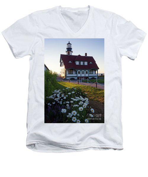Dawn At Portland Head Light, Cape Elizabeth, Maine  -08614 Men's V-Neck T-Shirt by John Bald