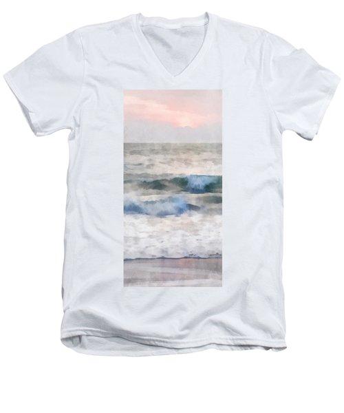 Dawn Beach Men's V-Neck T-Shirt by Francesa Miller