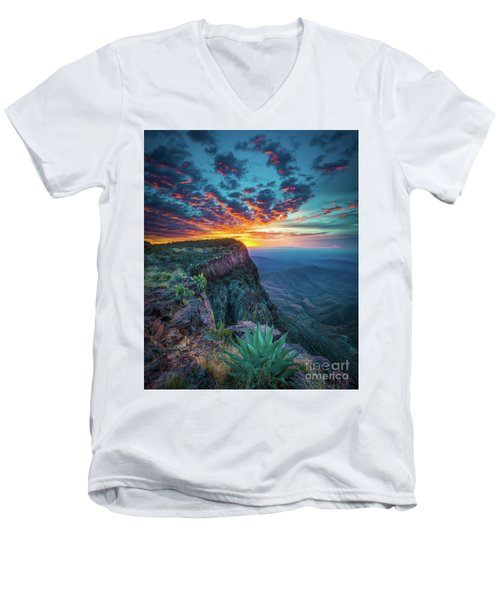 Dawn In The Chisos Men's V-Neck T-Shirt