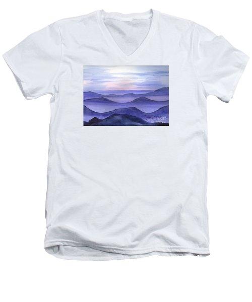 Men's V-Neck T-Shirt featuring the painting Day Break by Yolanda Koh