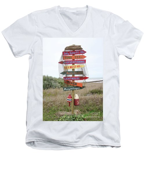 Men's V-Neck T-Shirt featuring the photograph Daytona Crossroads by Dodie Ulery