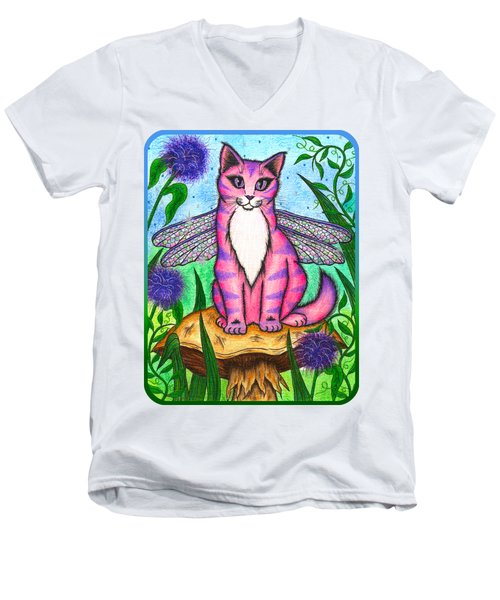 Dea Dragonfly Fairy Cat Men's V-Neck T-Shirt