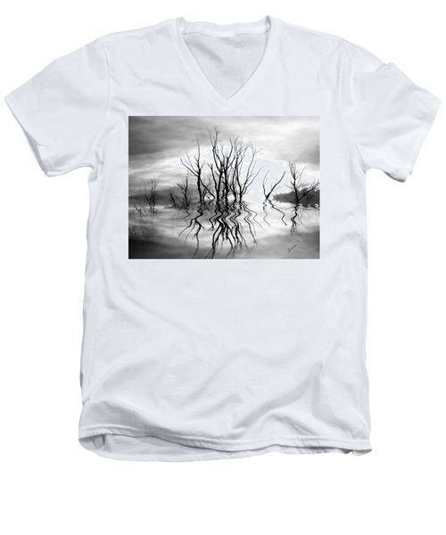 Men's V-Neck T-Shirt featuring the photograph Dead Trees Bw by Susan Kinney
