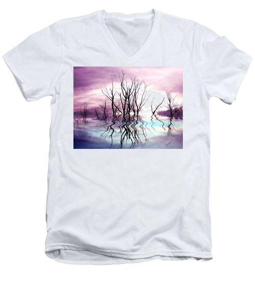 Men's V-Neck T-Shirt featuring the photograph Dead Trees Colored Version by Susan Kinney