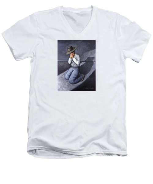 Dear God 3 Men's V-Neck T-Shirt by Lance Headlee