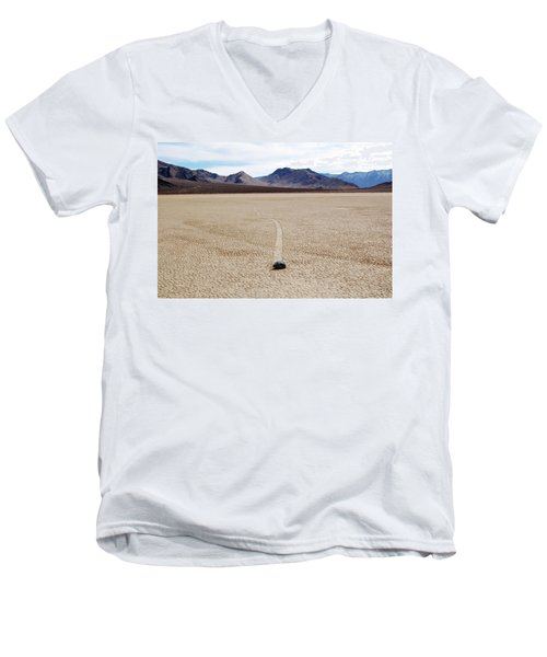 Men's V-Neck T-Shirt featuring the photograph Death Valley Racetrack by Breck Bartholomew