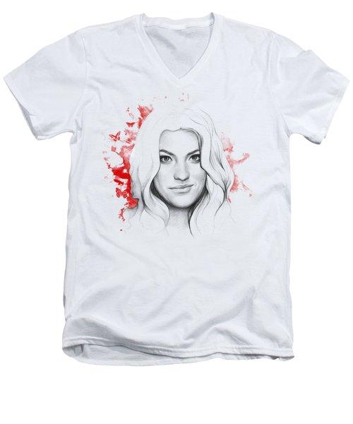 Debra Morgan - Dexter Men's V-Neck T-Shirt by Olga Shvartsur