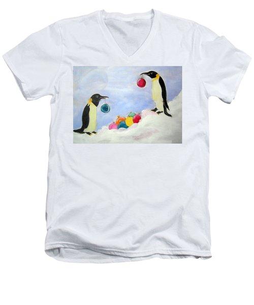 Decorating Penguins Men's V-Neck T-Shirt