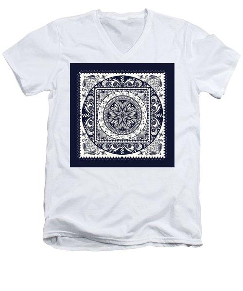 Deep Blue Classic Mandala Men's V-Neck T-Shirt by Deborah Smith