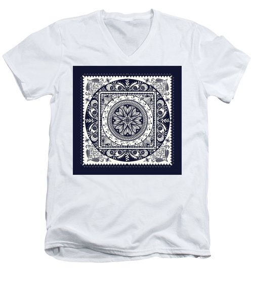 Deep Blue Classic Mandala Men's V-Neck T-Shirt