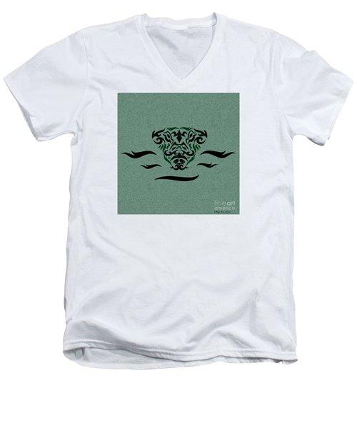 Deep Green Tribal Gator Men's V-Neck T-Shirt