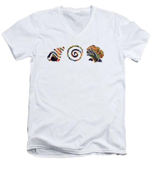 Men's V-Neck T-Shirt featuring the digital art Deep Sea Shell Trio by Deborah Smith