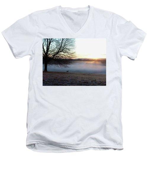 Deer At Dawn Men's V-Neck T-Shirt