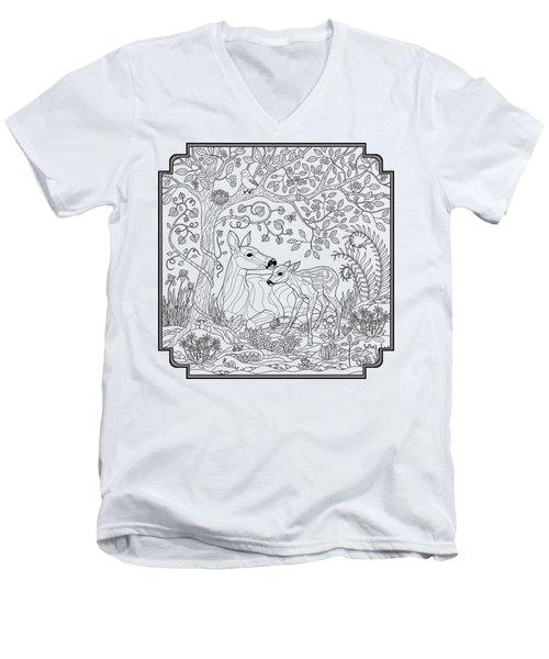 Deer Fantasy Forest Coloring Page Men's V-Neck T-Shirt by Crista Forest