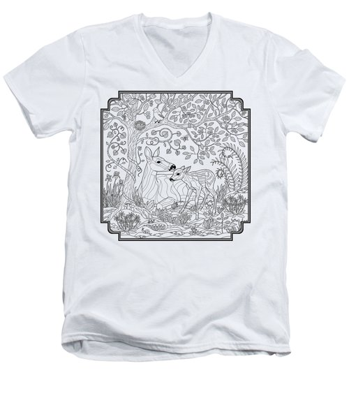 Deer Fantasy Forest Coloring Page Men's V-Neck T-Shirt