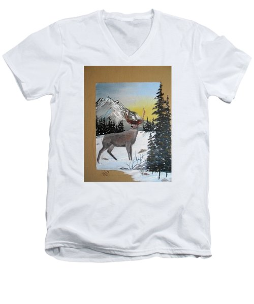Deer Hunter's Dream Men's V-Neck T-Shirt by Al  Johannessen