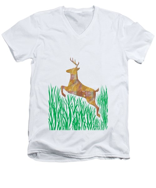 Deer In Grass Men's V-Neck T-Shirt by Aimee L Maher Photography and Art Visit ALMGallerydotcom
