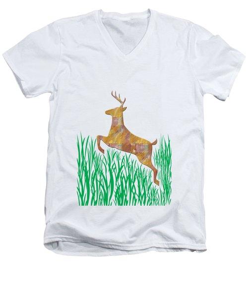 Deer In Grass Men's V-Neck T-Shirt
