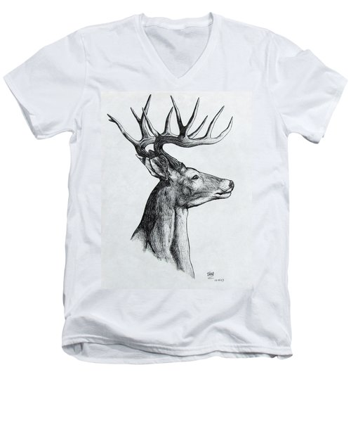 Men's V-Neck T-Shirt featuring the drawing Deer by Michael  TMAD Finney