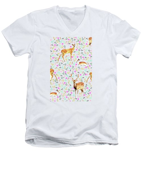 Deers Men's V-Neck T-Shirt by Uma Gokhale