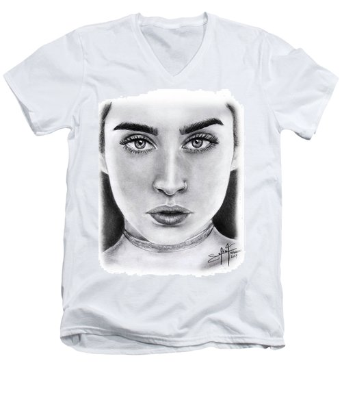 Lauren Jauregui Drawing By Sofia Furniel  Men's V-Neck T-Shirt