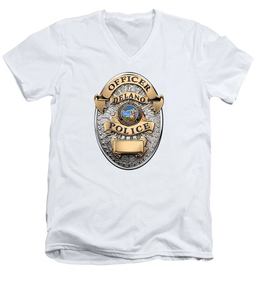 Men's V-Neck T-Shirt featuring the digital art Delano Police Department - Officer Badge Over White Leather by Serge Averbukh
