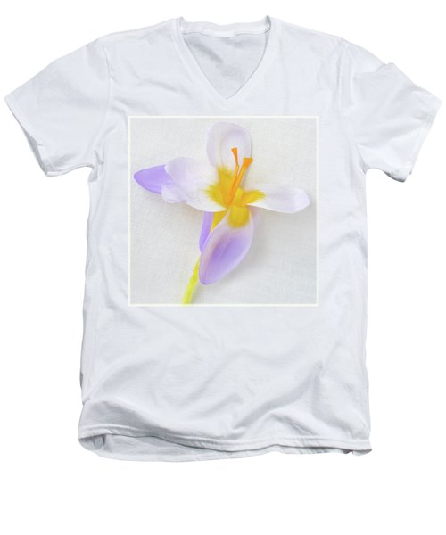 Men's V-Neck T-Shirt featuring the photograph Delicate Art Of Crocus by Terence Davis