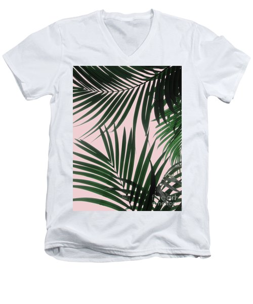 Delicate Jungle Theme Men's V-Neck T-Shirt
