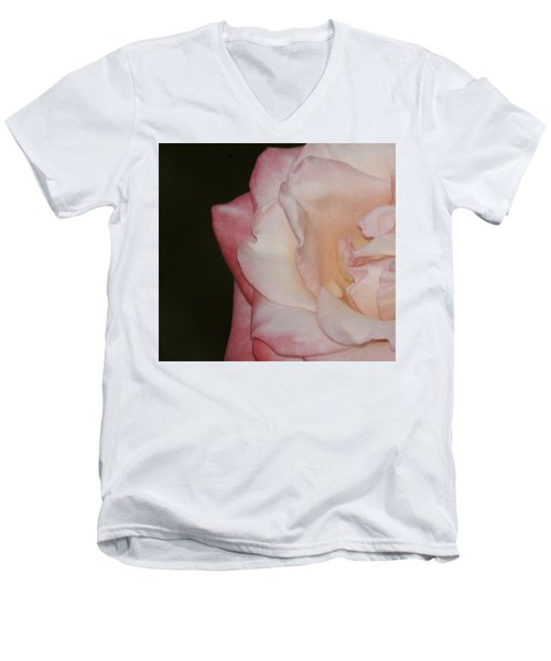 Men's V-Neck T-Shirt featuring the painting Delicate Pink Rose by Debra Crank