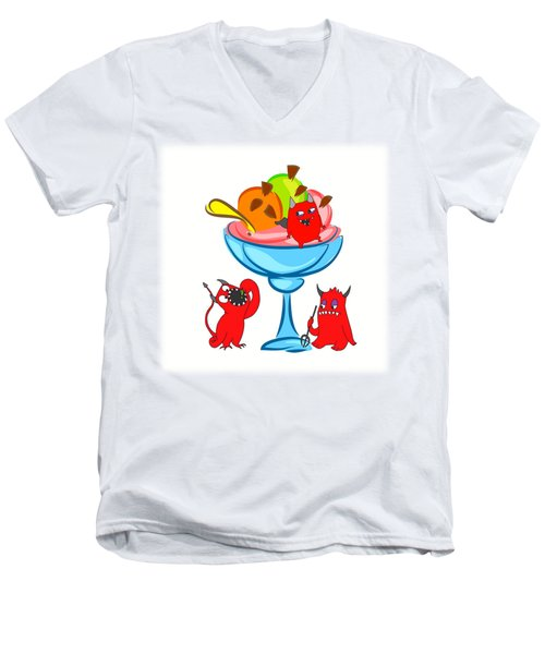 Deliciously Cool Ice Cream Sundae Men's V-Neck T-Shirt