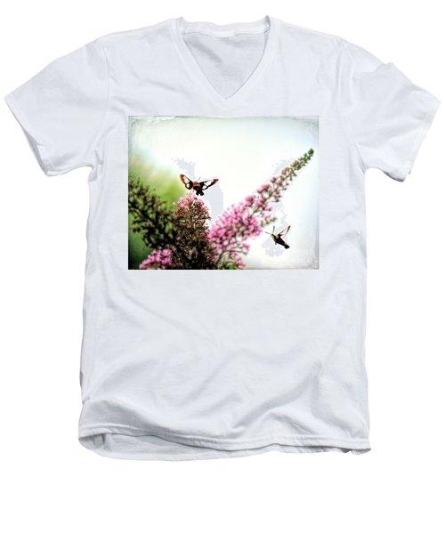 Men's V-Neck T-Shirt featuring the photograph Delight And Joy - Hummingbird Moths In Flight by Kerri Farley