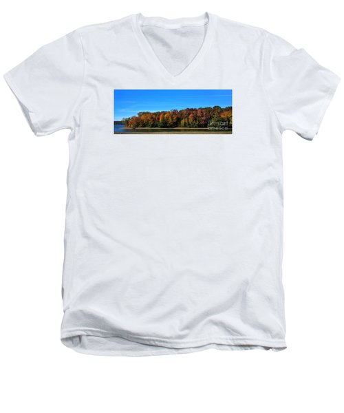 Delta Lake State Park Foliage Men's V-Neck T-Shirt by Diane E Berry