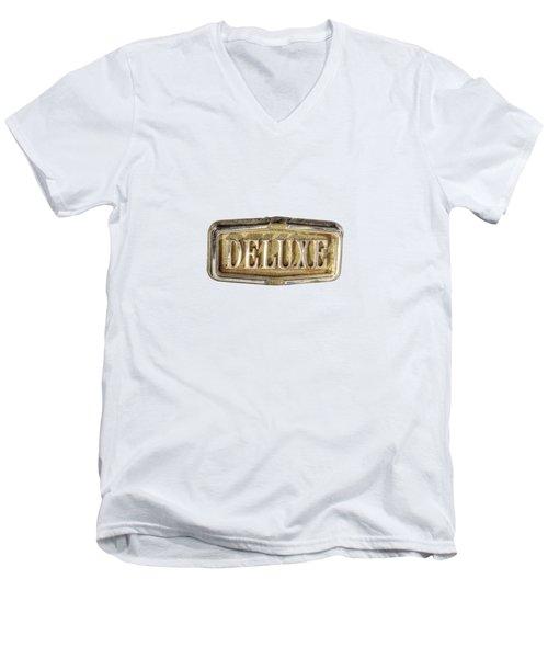 Deluxe Chrome Emblem Men's V-Neck T-Shirt by YoPedro