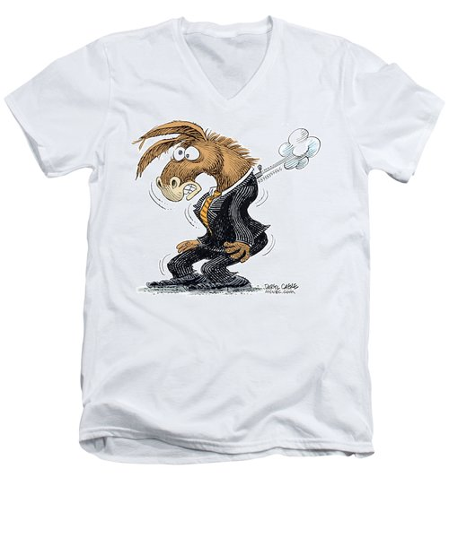 Men's V-Neck T-Shirt featuring the drawing Democrat Deflates by Daryl Cagle