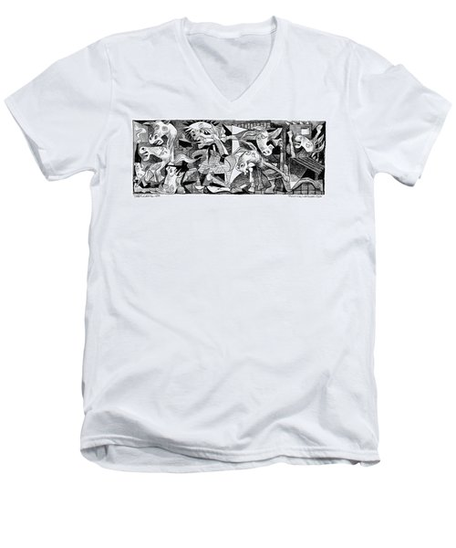 Men's V-Neck T-Shirt featuring the drawing Democrat Guernica by Daryl Cagle