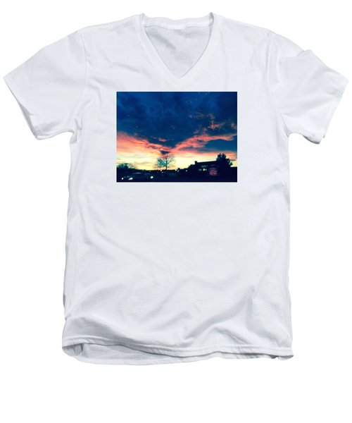 Men's V-Neck T-Shirt featuring the painting Dense Sunset by Angela Annas