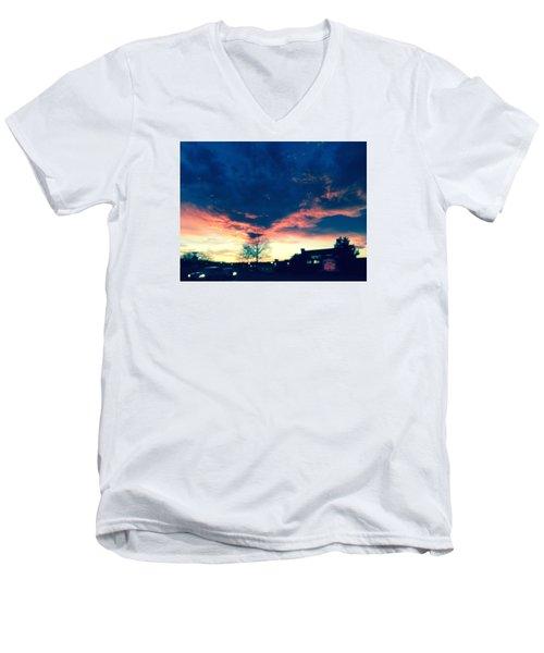 Dense Sunset Men's V-Neck T-Shirt by Angela Annas