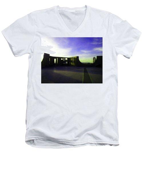 Men's V-Neck T-Shirt featuring the photograph Denver Art Museum Deck 1 by Marilyn Hunt