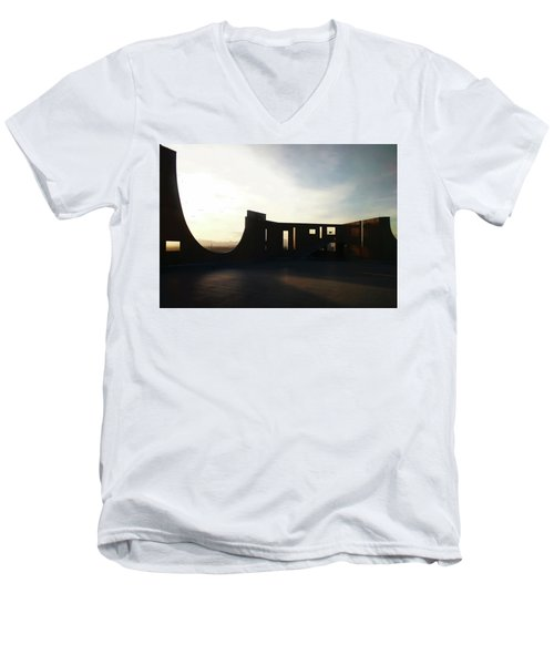 Men's V-Neck T-Shirt featuring the photograph Denver Art Museum Ponti Deck by Marilyn Hunt