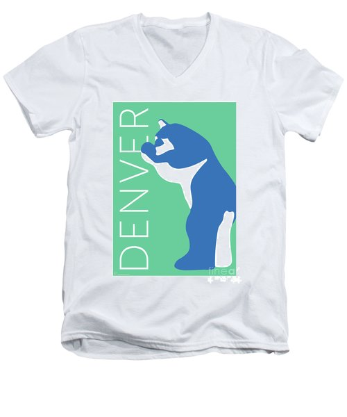 Denver Blue Bear/aqua Men's V-Neck T-Shirt