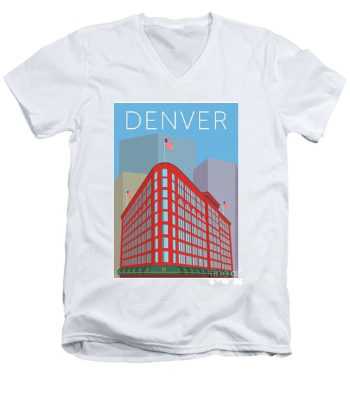 Denver Brown Palace/blue Men's V-Neck T-Shirt