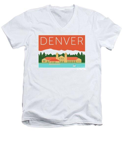 Denver City Park/coral Men's V-Neck T-Shirt