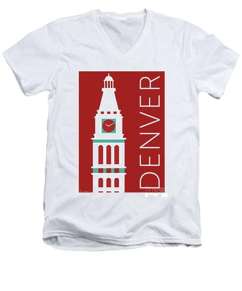 Denver D And F Tower/maroon Men's V-Neck T-Shirt